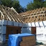 Partridge Bay Garage During Construction Front Left Framing