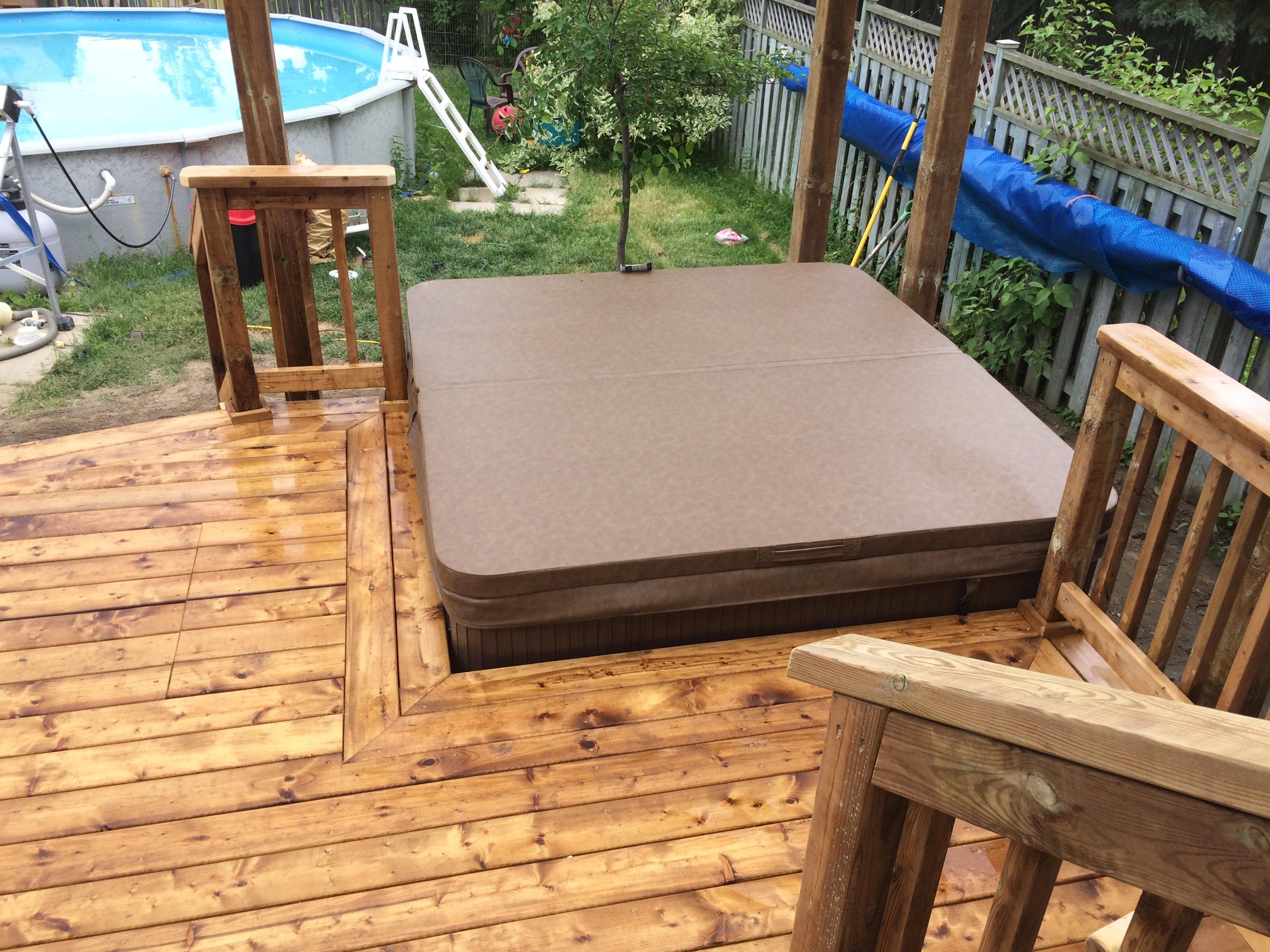 Keswick Deck - After Construction View From Deck Looking Towards Rear and Hot Tub
