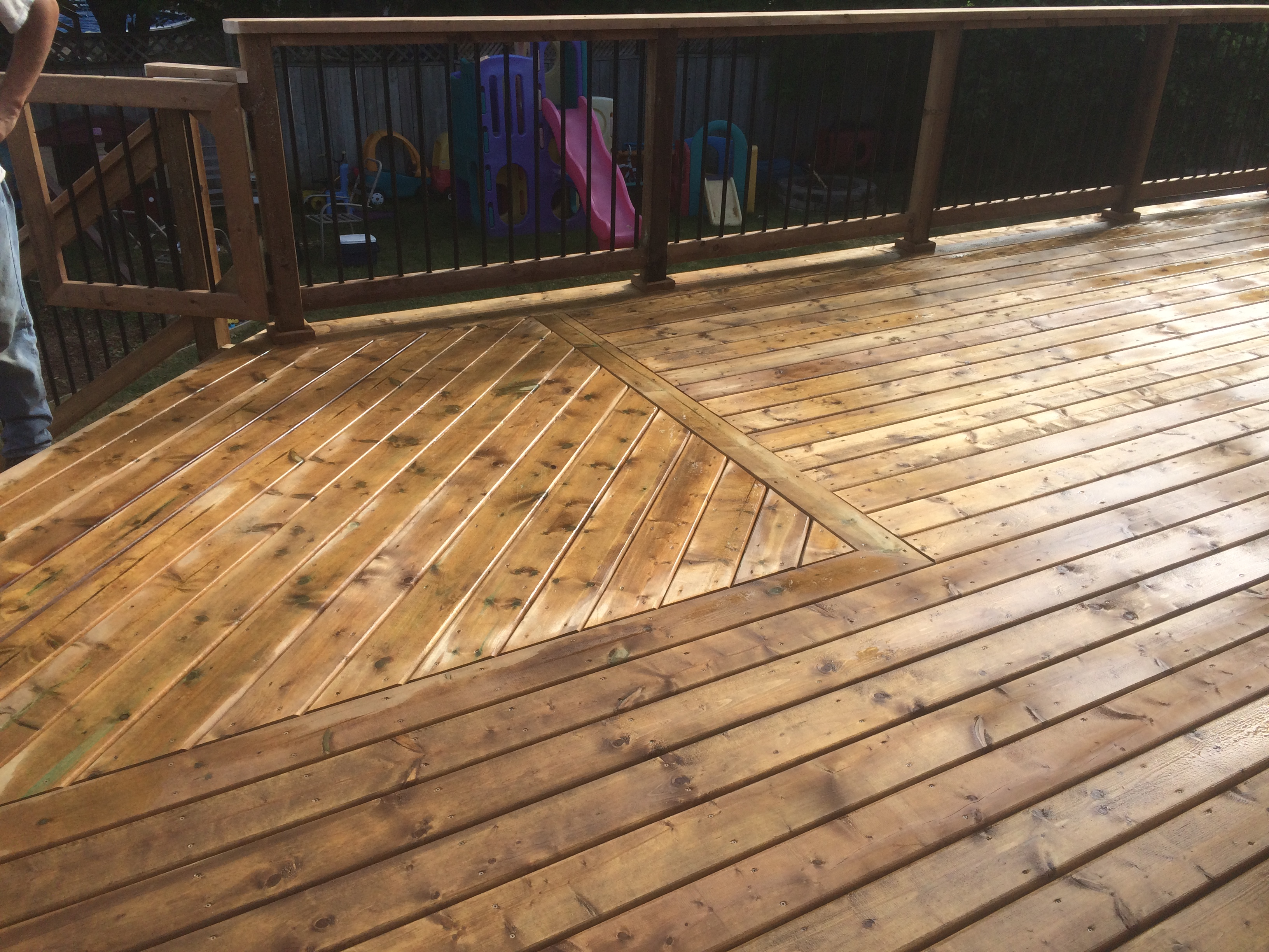 Redcastle Deck - After Construction Angled Decking at Stairs