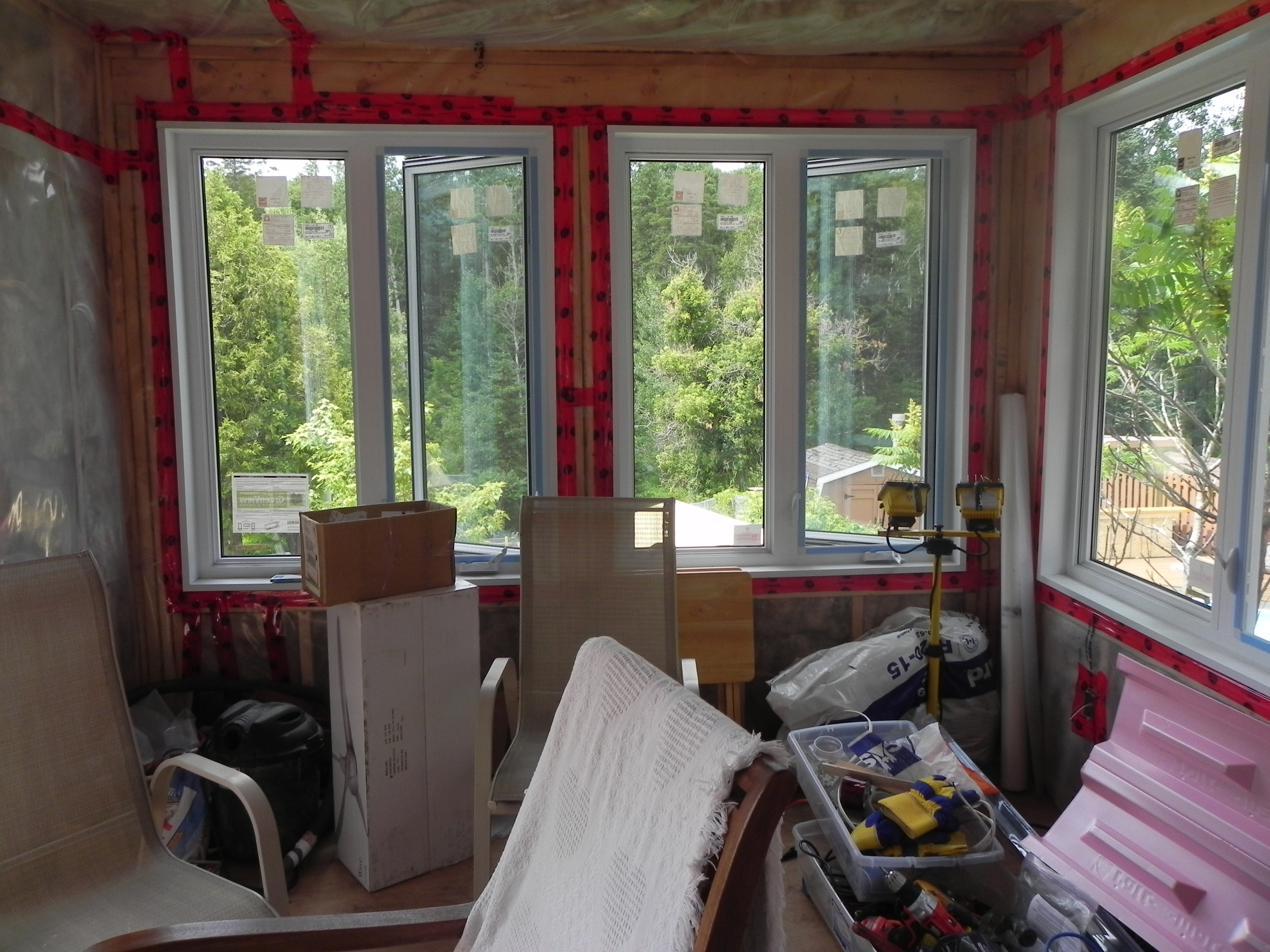 Lively Sunroom Addition Vapour Barrier Installed