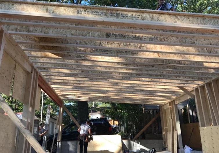 Toronto Upr Beach Laneway Garage During Construction Roof Joists